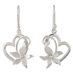 Flowering Rapture Sterling Silver Heart Dangle Earrings