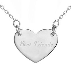 Friends Forever Engravable Silver Heart Necklace