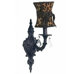 Black 1-Arm Wall Sconce with Leopard Shade
