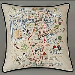 Hand Embroidered Israel Accent Pillow