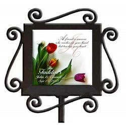 Personalized Spring Tulips Ceramic and Iron Garden Stake