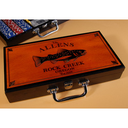 Personalized Cabin Series Poker Set with Trout Image
