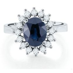 14K White Gold Oval Sapphire Ring with Diamond Accents