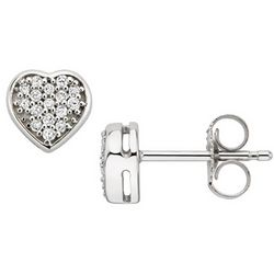 Diamond 10k White Gold Heart Earrings