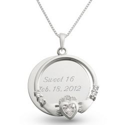 Engravable Sterling Silver with Clear CZ Claddagh Necklace