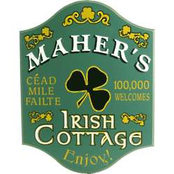 Personalized Irish Hundred Thousand Welcomes Cottage Sign