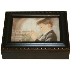 Black First Communion Music Box for a Boy