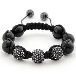 Black Onyx and Crystal Trinity Shamballa Inspired Bracelet