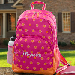 Girl's Personalized Pink & Orange Backpack