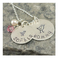 Personalized My Little Birdies Hand Stamped Necklace