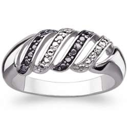 Sterling Silver Black and White Wide Swirl Band