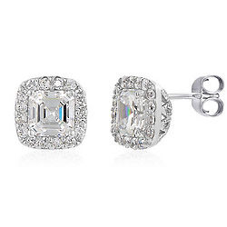 Sterling Silver Asscher Cubic Zirconia Solitaire Earrings