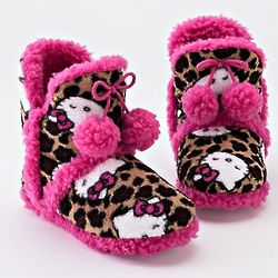 Girl's Hello Kitty Leopard Pom-Pom Bootie Slippers