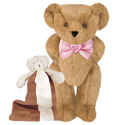 It's a Girl Bowtie Teddy Bear with Buddy Blanket