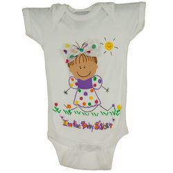 Personalized Baby Sister with Brown Hair Bodysuit