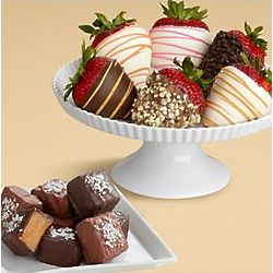 Sea Salted Caramels and Hand-Dipped Strawberry Gift Box