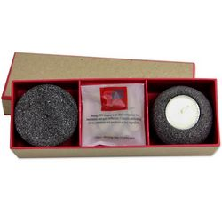 Sitting Zen Lava Stone Incense and Tealight Set