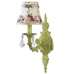 Pistachio Green 1 Arm Wall Sconce with Ribbon Embroidery Shade