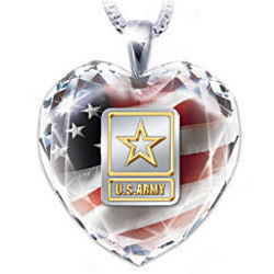 US Army Crystal Heart Pendant Necklace