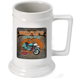 Personalized Beer Stein with Biker Image