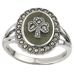 Marcasite and Marble Sterling Silver Shamrock Ring