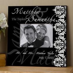 Personalized Damask Edge Wedding Wall Frame