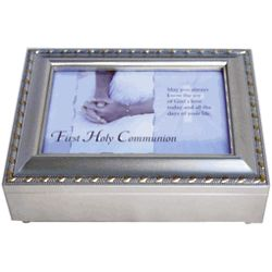 Silver Tone First Communion Ave Maria Music Box
