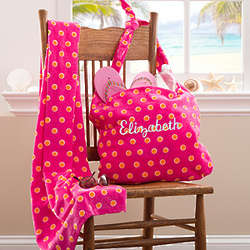 Personalized Pink Beach Tote Bag and Beach Towel