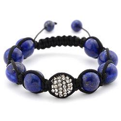 Lapis and Crystal Pave Shamballa Inspired Bracelet