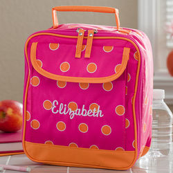 Girl's Personalized Pink & Orange Lunch Bag