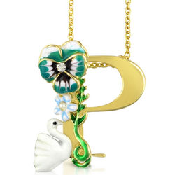 Alphabet Fleuri Letter P Charm Necklace