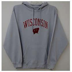 Wisconsin Men's Gray Hooded Sweatshirt