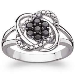 Sterling Silver Black and White Flower Ring with Diamond Accent