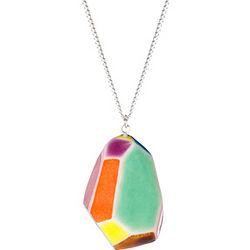 Large Faceted Pendant Necklace