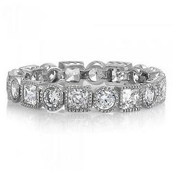Sterling Silver Round and Princess Cubic Zirconia Eternity Band