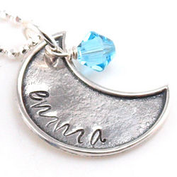 My Moon Personalized Name and Birthstone Hand Stamped Necklace