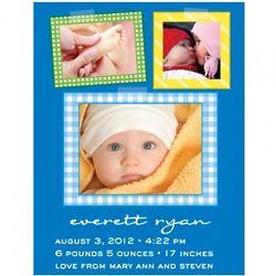 50 Blue Patchwork Quilt Style Flat Print Baby Announcements