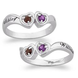 Sterling Silver Couple's Birthstone Hearts and Name Ring