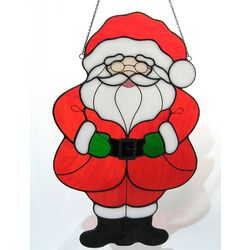 Stained Glass Santa with Red Coat