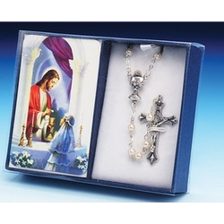Girl's First Communion Prayer Card with Rosary