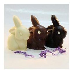 3 Solid Chocolate Easter Bunnies