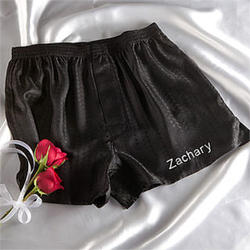 Personalized Wedding Silk Boxer Shorts for the Groom