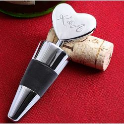 Engraved Silver Heart Wine Stopper