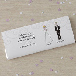 Personalized Bride and Groom Character Candy Bar Wrappers