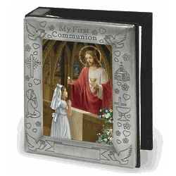 Pewter First Communion Photo Album for a Girl