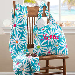 Personalized Daisy Beach Tote Bag and Beach Towel Set