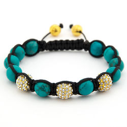 Turquoise and Crystal Shamballa Inspired Bracelet