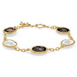 Smokey Quartz and White Agate Bracelet in Gold Vermeil