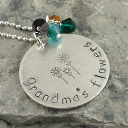 Flower Garden Personalized Hand Stamped Necklace
