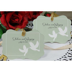 Personalized White Doves Wedding Favor Ornament